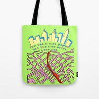 paper towns Tote Bags featuring Paper Towns by green.lime
