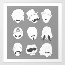 Famous Moustaches grey Art Print