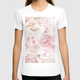 Vintage pastel pink brown butterfly floral typography T-shirt