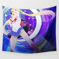 sailor moon Wall Tapestries featuring Sailor Moon by beastace