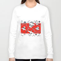 airplanes Long Sleeve T-shirts featuring airplanes in red by Isabella Asratyan