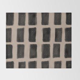 Brush Strokes Vertical Lines Black on Nude Throw Blanket