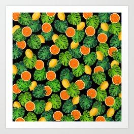 Oranges Lemons Monstera Leaf Black Art Print