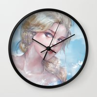 frozen elsa Wall Clocks featuring Frozen Elsa by x3uu