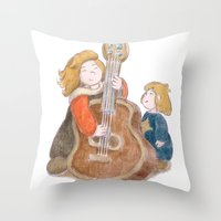 sisters Throw Pillows featuring Sisters by Pepijn de Jonge