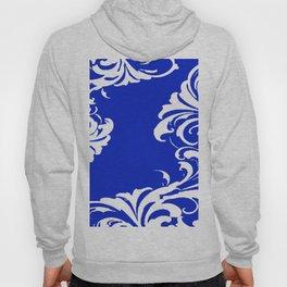Damask Blue and White Victorian Swirl Damask Pattern Hoody