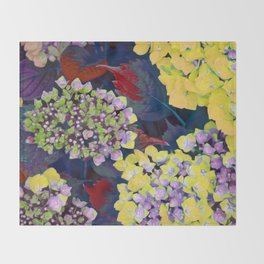 Hydrangea Yellow Throw Blanket