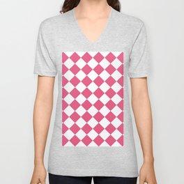 Large Diamonds - White and Dark Pink Unisex V-Neck