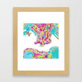 Hong Kong Colorful Map Framed Art Print