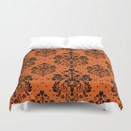Vintage black orange halloween floral damask Duvet Cover