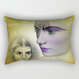 different times - different faces Rectangular Pillow