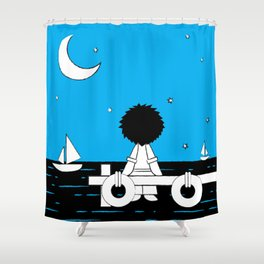 Midnight Harbour - Retraced Shower Curtain