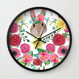 Easter rabbit floral beauty Wall Clock