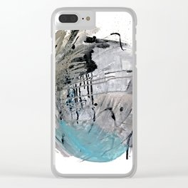 Riptide: an abstract mixed media piece in black, white, brown and blue Clear iPhone Case