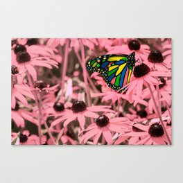 Surreal Monarch on Pink Flowers Canvas Print