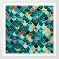 bokeh Art Prints featuring REALLY MERMAID by Monika Strigel