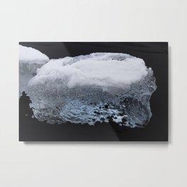 Glacier Ice on Black Sand 3 Metal Print