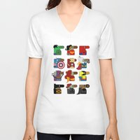 super heroes V-neck T-shirts featuring Super Heroes by nobleplatypus