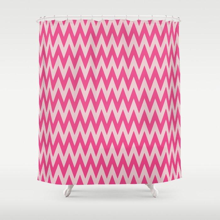 Neon Pink Chevron Shower Curtain