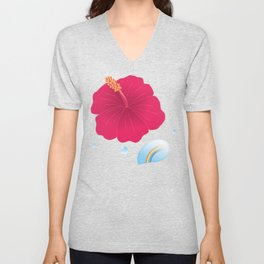 Hibiscus and Rainbow reflected in a Drop of water_R Unisex V-Neck