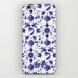 Blue Flower Bohoo Pattern iPhone Skin