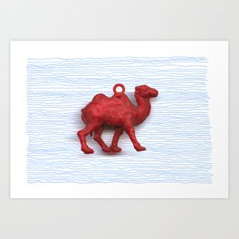 Genetically challenged camel trying to cross the blue mirage Art Print