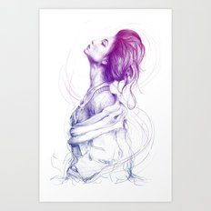 Beautiful Woman Lady Portrait Fashion Art Art Print