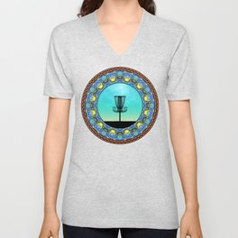 Disc Golf Abstract Basket 5 Unisex V-Neck