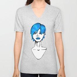 Blue hair Unisex V-Neck