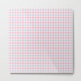 Pink & Aqua Plaid Pattern Metal Print