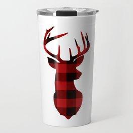 Red Buffalo Plaid Deer Travel Mug