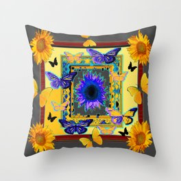 ORNATE BUTTERFLIES SUNFLOWERS GREY MONTAGE Throw Pillow