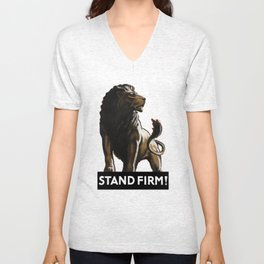 Stand Firm Lion -- WWII Propaganda Unisex V-Neck