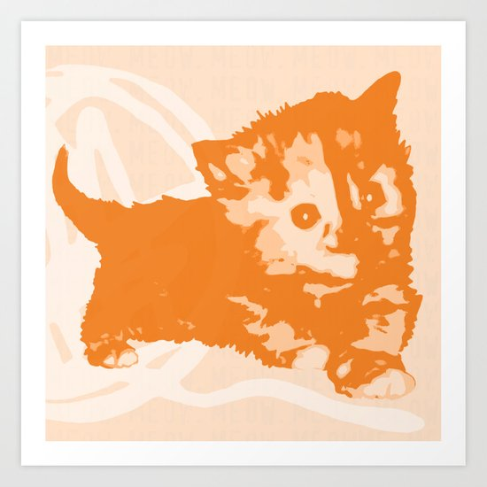 Here Kitty, Kitty - Pastel Pink/Orange Art Print