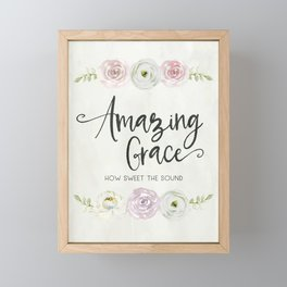 Amazing Grace Art Poster with Watercolor Florals Framed Mini Art Print