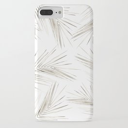 White Gold Palm Leaves on White iPhone Case