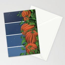 Pumpkin Patch at Night on Blues Stationery Cards