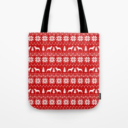 Pit Bull Silhouettes Christmas Sweater Pattern Tote Bag