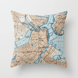 Vintage Map of Boston MA (1906) Throw Pillow