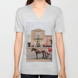 Horse Carriage in Downtown Merida, Mexico Unisex V-Neck