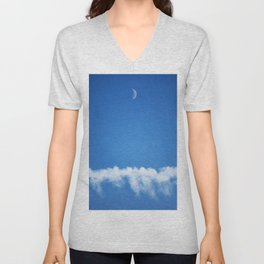 Moon and Contrail Unisex V-Neck