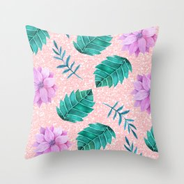 floral & glitter Throw Pillow