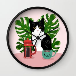 Tuxie Cat and Coffee Wall Clock