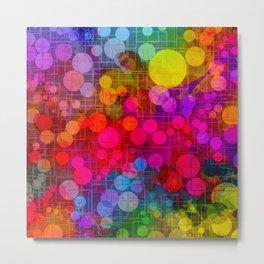 Rainbow Bubbles Abstract Design Metal Print