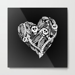 Skeletal Love Heart  (Black) Skulls and Bones Metal Print