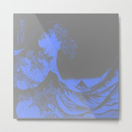 The Great Wave : Gray & Periwinkle Lavender Metal Print