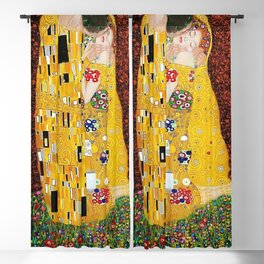 Gustav Klimt - The Kiss gold leaf, silver, and platinum, The Lovers golden period still life Blackout Curtain