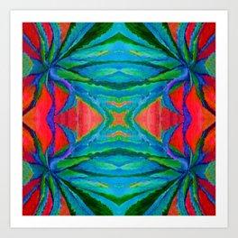WESTERN MODERN ART OF BLUE AGAVES RED-TEAL Art Print