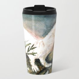 Winter stoat (c) 2017 Metal Travel Mug