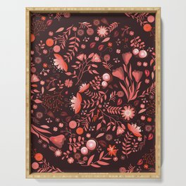 Coral flowers Serving Tray